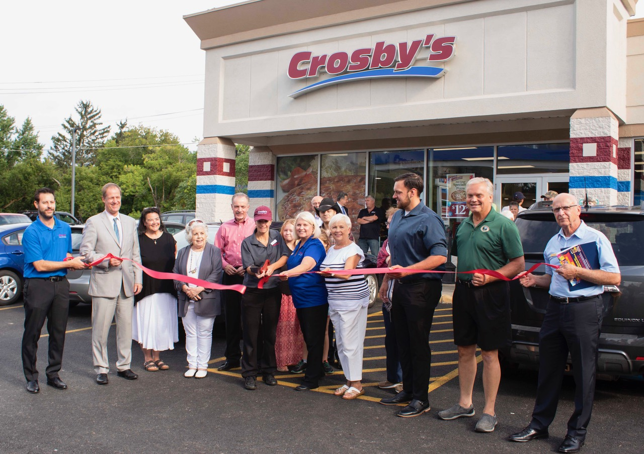 Ribbon Cutting at Grand Reopening of Crosby's in Wales